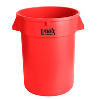 Lavex Janitorial 32 Gallon Red Round Commercial Trash Can