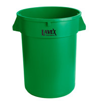 Lavex Janitorial 32 Gallon Green Round Commercial Trash Can