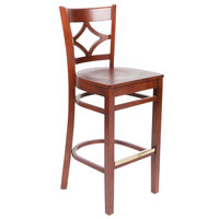 Lancaster Table & Seating Mahogany Finish Wooden Diamond Back Bar Height Chair