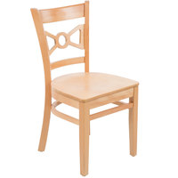 Lancaster Table & Seating Natural Finish Wooden Bow Tie Back Cafe Chair