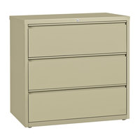 Hirsh Industries 17643 Putty Three-Drawer Lateral File Cabinet - 42 inch x 18 5/8 inch x 40 1/4 inch