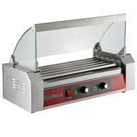 Grand Slam 12 Hot Dog Roller Grill with 5 Rollers and Sneeze Guard - 110V, 750W