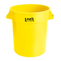 Lavex Janitorial 20 Gallon Yellow Round Commercial Trash Can