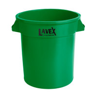 Lavex Janitorial 10 Gallon Green Round Commercial Trash Can / Ingredient Bin