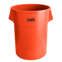 Lavex Janitorial 55 Gallon Orange Round Commercial Trash Can