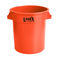 Lavex Janitorial 10 Gallon Orange Round Commercial Trash Can