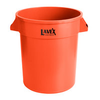 Lavex Janitorial 20 Gallon Orange Round Commercial Trash Can