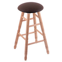 Holland Bar Stool XRC24OTNATREICOF Big & Tall 24 inch Natural Oak Counter Height Stool With Rein Coffee Swivel Seat And Turned Legs