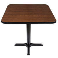 Lancaster Table & Seating Standard Height Table with 30 inch x 30 inch Reversible Walnut / Oak Table Top and Cross Base Plate