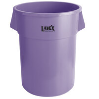 Lavex Janitorial 55 Gallon Purple Round Commercial Trash Can