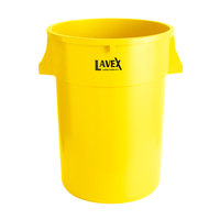 Lavex Janitorial 44 Gallon Yellow Round Commercial Trash Can