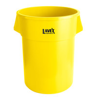 Lavex Janitorial 55 Gallon Yellow Round Commercial Trash Can