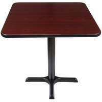 Lancaster Table & Seating Standard Height Table with 30 inch x 30 inch Reversible Cherry / Black Table Top and Cross Base Plate