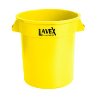 Lavex Janitorial 10 Gallon Yellow Round Commercial Trash Can