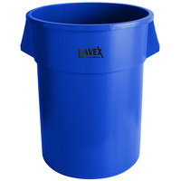 Lavex Janitorial 55 Gallon Blue Round Commercial Trash Can