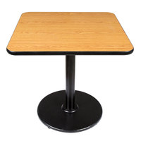 Lancaster Table and Seating Standard Height Table with 30 inch x 30 inch Reversible Walnut / Oak Table Top and Round Base Plate