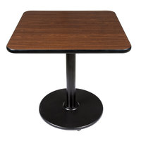 Lancaster Table & Seating Standard Height Table with 30 inch x 30 inch Reversible Walnut / Oak Table Top and Round Base Plate