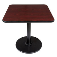 Lancaster Table and Seating Standard Height Table with 30 inch x 30 inch Reversible Cherry / Black Table Top and Round Base Plate