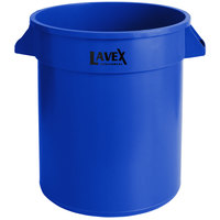 Lavex Janitorial 20 Gallon Blue Round Commercial Trash Can / Ingredient Bin
