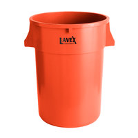 Lavex Janitorial 44 Gallon Orange Round Commercial Trash Can