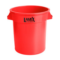 Lavex Janitorial 10 Gallon Red Round Commercial Trash Can