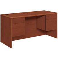 HON 10765CO 10700 Series 60 inch x 24 inch x 29 1/2 inch Cognac Laminate Kneespace 3/4 Height Pedestals Credenza