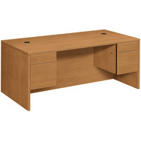 HON 105900CC 10500 Series 72 inch x 24 inch x 29 1/2 inch Harvest Laminate Kneespace Full Height Double Pedestal Credenza