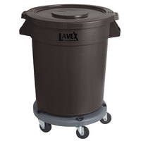 Lavex Janitorial 20 Gallon Brown Round Commercial Trash Can with Lid and Dolly