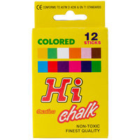 Choice Assorted Colored Chalk - 12 Pieces / Box