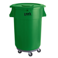 Lavex Janitorial 44 Gallon Green Round Commercial Trash Can with Lid and Dolly