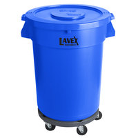 Lavex Janitorial 32 Gallon Blue Round Commercial Trash Can with Lid and Dolly
