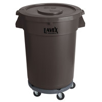 Lavex Janitorial 32 Gallon Brown Round Commercial Trash Can with Lid and Dolly