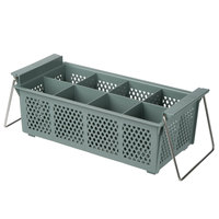 Noble Products 8 Compartment Half Size Grey Flatware Rack with Handles
