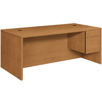 HON 10545RCC 10500 Series 72 inch x 24 inch x 29 1/2 inch Harvest Laminate Right 3/4 Height Pedestal Credenza