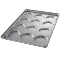 Chicago Metallic 41005 12 Mold Glazed Individual Hamburger Bun / Muffin Top / Cookie Pan