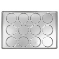 Chicago Metallic 41005 12 Mold Glazed Customizable Individual Hamburger Bun / Muffin Top / Cookie Pan