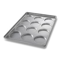 Chicago Metallic 41005 12 Mold Glazed Individual Hamburger Bun / Muffin Top / Cookie Pan
