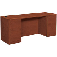 HON 10741CO 10700 Series 72 inch x 24 inch x 29 1/2 inch Cognac Laminate Kneespace Full Height Pedestals Credenza