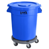 Lavex Janitorial 20 Gallon Blue Round Commercial Trash Can with Lid and Dolly