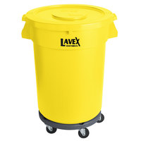 Lavex Janitorial 32 Gallon Yellow Round Commercial Trash Can with Lid and Dolly