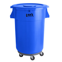Lavex Janitorial 44 Gallon Blue Round Commercial Trash Can with Lid and Dolly