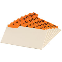 Oxford 03532 3 inch x 5 inch 1 - 31 Numbered Orange Index Card Guide