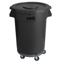 Lavex Janitorial 32 Gallon Black Round Commercial Trash Can with Lid and Dolly
