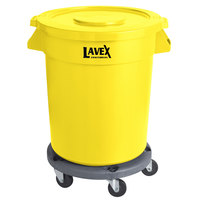 Lavex Janitorial 20 Gallon Yellow Round Commercial Trash Can with Lid and Dolly
