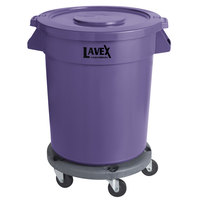 Lavex Janitorial 20 Gallon Purple Round Commercial Trash Can with Lid and Dolly