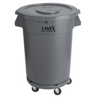 Lavex Janitorial 32 Gallon Gray Round Commercial Trash Can with Lid and Dolly