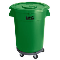 Lavex Janitorial 32 Gallon Green Round Commercial Trash Can with Lid and Dolly