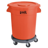 Lavex Janitorial 20 Gallon Orange Round Commercial Trash Can with Lid and Dolly