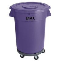 Lavex Janitorial 32 Gallon Purple Round Commercial Trash Can with Lid and Dolly