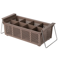 Noble Products 8 Compartment Half Size Brown Flatware Rack with Handles